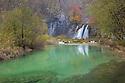 Waterfall below the Lower Lakes, Plitvice Lakes National Park, Croatia. November.