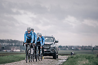 Wout Van Aert (BEL/Veranda's Willems-Crelan) leading his teammates over the cobbles  during their recon of the 116th Paris - Roubaix 2018