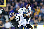 West Virginia Mountaineers cornerback Daryl Worley (7) and West Virginia Mountaineers cornerback Terrell Chestnut (16) in action during the game between the  West Virginia and the TCU Horned Frogs at the Amon G. Carter Stadium in Fort Worth, Texas.