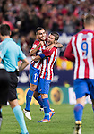 Angel Correa of Atletico de Madrid celebrates with teammate Gabi during their La Liga match between Atletico de Madrid and Granada CF at the Vicente Calderon Stadium on 15 October 2016 in Madrid, Spain. Photo by Diego Gonzalez Souto / Power Sport Images