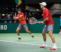 Rotterdam, The Netherlands. 15.02.2014. Jean-Julien Rojer(NED)/ Horia Tecau(ROE) at the ABN AMRO World tennis Tournament<br /> Photo:Tennisimages/Henk Koster