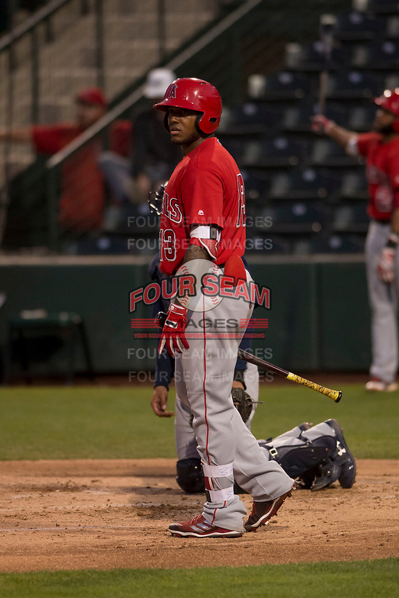 Los Angeles Angels infielder Roberto Baldoquin (13) during a Minor League Spring Training game against the Milwaukee Brewers at Tempe Diablo Stadium on March 29, 2018 in Tempe, Arizona. (Zachary Lucy/Four Seam Images)