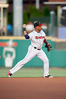 Rochester Red Wings shortstop Jorge Polanco (12) throws to first base during a game against the Lehigh Valley IronPigs on June 30, 2018 at Frontier Field in Rochester, New York.  Lehigh Valley defeated Rochester 6-2.  (Mike Janes/Four Seam Images)