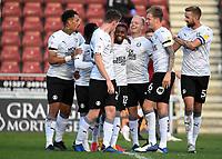10th October 2020; Sixfields Stadium, Northampton, East Midlands, England; English Football League One, Northampton Town versus Peterborough United; Reece Brown celebrates scoring Peterborough's second goal.