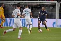 28th September 2021, Parc des Princes, Paris, France: Champions league football, Paris-Saint-Germain versus Manchester City:  Presnel Kimpembe ( 3 - PSG ) passes across Riyad Mahrez ( 26 - Manchester City )