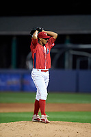 Williamsport Crosscutters relief pitcher Gustavo Armas (46) gets ready to deliver a pitch during a game against the Mahoning Valley Scrappers on July 8, 2017 at BB&T Ballpark at Historic Bowman Field in Williamsport, Pennsylvania.  Williamsport defeated Mahoning Valley 6-1.  (Mike Janes/Four Seam Images)