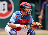 East Lake Eagles catcher Marco Dinges (5) during practice before the 42nd Annual FACA All-Star Baseball Classic on June 5, 2021 at Joker Marchant Stadium in Lakeland, Florida.  (Mike Janes/Four Seam Images)