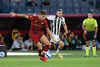 23rd September 2021;  Stadio Olimpicom, Roma, Italy; Serie A League Football, Roma versus Udinese;Riccardo Calafiori of As Roma and Gerard Deulofeu of Udinese