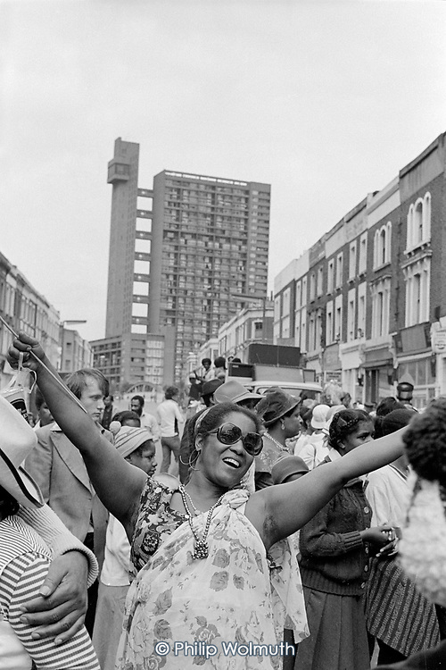 Dominica Mas Band from the 510 Community Centre, North Paddington, at Notting Hill Carnival, 1979
