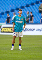 August 03 2010 Inter Milan FC player Cristiano Biraghi No. 34 in action during the warm-up in an international friendly between Inter Milan FC and Panathinaikos FC at the Rogers Centre in Toronto..Final score was 3-2 for Panathinaikos FC.
