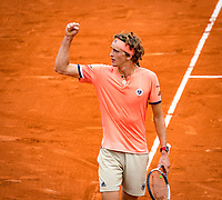 Paris, France, 01 June, 2018, Tennis, French Open, Roland Garros, Alexander Zverev (GER) celebrates his win<br /> Photo: Henk Koster/tennisimages.com