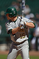 Baylor Bears outfielder Adam Toth #15 at bat during the NCAA baseball game against the California Golden Bears on March 1st, 2013 at Minute Maid Park in Houston, Texas. Baylor defeated Cal 9-0. (Andrew Woolley/Four Seam Images).