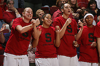 STANFORD, CA - FEBRUARY 4:  Mikaela Ruef, Grace Mashore, Ashley Cimino, and Melanie Murphy of the Stanford Cardinal during Stanford's 74-53 win over UCLA on February 4, 2010 at Maples Pavilion in Stanford, California.