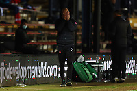 4th May 2021; Kenilworth Road, Luton, Bedfordshire, England; English Football League Championship Football, Luton Town versus Rotherham United; A dejected Rotherham United Manager Paul Warne holds his face
