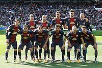 FC Barcelona's team photo with Pedro Rodriguez, Javier Mascherano, Sergio Busquets, Gerard Pique, Victor Valdes, Leo Messi, Daniel Alves, Thiago Alcantara, David Villa, Andres Iniesta and Jordi Alba during La Liga match.March 02,2013. (ALTERPHOTOS/Acero) /NortePhoto