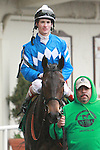 2011 04 16: Nicole H with Channing Hill return to the paddock after winning  of the Grade 2 Distaff Handicap at 7 furlongs for fillies and mares at Aqueduct Racetrack. Trainer Michael Hushion. Owner GEM Racing