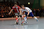 Mannheim, Germany, January 24: During the 1. Bundesliga Herren Hallensaison 2014/15 quarter-final hockey match between Mannheimer HC (white) and Club an der Alster (red) on January 24, 2015 at Irma-Roechling-Halle in Mannheim, Germany. Final score 2-3 (1-2). (Photo by Dirk Markgraf / www.265-images.com) *** Local caption *** Constantin Staib #11 of Club an der Alster, Jan-Philipp Fischer #2 of Mannheimer HC
