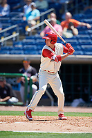 Clearwater Threshers center fielder Mickey Moniak (2) at bat during a game against the Jupiter Hammerheads on April 11, 2018 at Spectrum Field in Clearwater, Florida.  Jupiter defeated Clearwater 6-4.  (Mike Janes/Four Seam Images)