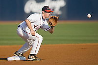 Second baseman Keith Werman #2 of the Virginia Cavaliers waits for a throw in the championship game of the Charlottesville Regional at Davenport Field on June 7, 2010, in Charlottesville, Virginia.  The Cavaliers defeated the Red Storm 5-3.  Photo by Brian Westerholt / Four Seam Images