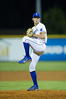 Burlington Royals relief pitcher Collin Snider (41) in action against the Danville Braves at Burlington Athletic Stadium on August 15, 2017 in Burlington, North Carolina.  The Royals defeated the Braves 6-2.  (Brian Westerholt/Four Seam Images)