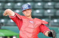 Catcher Torre Langley (5) of the Lakewood BlueClaws, Class A affiliate of the Philadelphia Phillies, in a game against the Greenville Drive on May 13, 2010, at Fluor Field at the West End in Greenville, S.C. Photo by: Tom Priddy/Four Seam Images