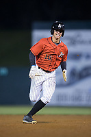 Mitch Roman (10) of the Kannapolis Intimidators hustles towards third base against the Lakewood BlueClaws at Kannapolis Intimidators Stadium on April 8, 2017 in Kannapolis, North Carolina.  The BlueClaws defeated the Intimidators 8-4 in 10 innings.  (Brian Westerholt/Four Seam Images)