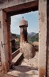 Croatia, Lastovo Island, Lastovo, architecturally unique, minaret-like Lastovo chimneys known as fumari, to 400 years old, Dalmatian Islands, Adriatic Sea, Europe, .