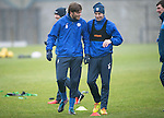 St Johnstone Training….16.12.16<br />Murray Davidson and Steven MacLean pictured during training this morning at a wet and foggy McDiarmid Park<br />Picture by Graeme Hart.<br />Copyright Perthshire Picture Agency<br />Tel: 01738 623350  Mobile: 07990 594431