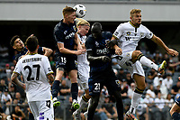 3rd January 2021; Campbelltown Stadium, Leumeah, New South Wales, Australia; A League Football, Macarthur FC versus Central Coast Mariners; Kye Rowles of Central Coast Mariners wins the header from Lachlan Rose of Macarthur FC from a cross
