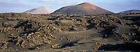 Europe/Espagne/Canaries/Lanzarote/Parc National de Timanfaya : Paysage volcanique des Montanas del Fuego