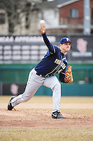 Pittsburgh Panthers pitcher Ethan Mildren (40) during game against the St. John's Redstorm at Jack Kaiser Stadium on March 22, 2013 in Queens, New York.  Pittsburgh defeated St. John's 12-9.  (Tomasso DeRosa/Four Seam Images)