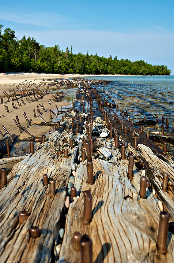 The remnants of a Lake Superior ship after it wrecked many years ago.