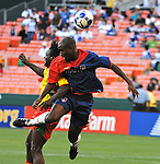 08 July 09: Players from Haiti and Grenada fight for a header during their match at the CONCACAF Gold Cup at RFK Stadium in Washington, DC.