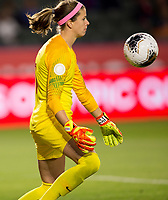CARSON, CA - FEBRUARY 07: GK Stephanie Labbe #1 of Canada traps the ball during a game between Canada and Costa Rica at Dignity Health Sports Complex on February 07, 2020 in Carson, California.