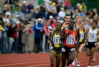 EUGENE, OR--Bernard Kiptum, 117, leads Tariku Bekele, 101, in the mens 2 mile during the Steve Prefontaine Classic, Hayward Field, Eugene, OR. SUNDAY, JUNE 10, 2007. PHOTO © 2007 DON FERIA