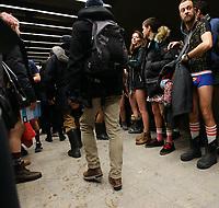 Jounee sans pantalon dans le metro, le 11 janvier 2015.<br /> <br /> L'evenement sans but precis a lieu cahque annee,  un peu partout dans le monde<br /> <br /> <br /> PHOTO :  Agence Quebec Presse