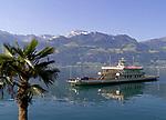 Schweiz, Kanton Luzern: Ueberfahrt von Beckenried nach Gersau mit der Autofaehre frueh am Morgen | Switzerland, Canton Lucerne: car ferry from Beckenried to Gersau early in the morning
