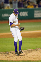 LSU Tigers pitcher Parker Bugg (46) celebrates a key strike out during a Southeastern Conference baseball game against the Texas A&M Aggies on April 23, 2015 at Alex Box Stadium in Baton Rouge, Louisiana. LSU defeated Texas A&M 4-3. (Andrew Woolley/Four Seam Images)
