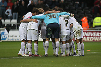 Pictured: Swansea City Players team huddle<br />