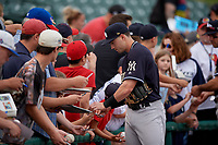 Scranton/Wilkes-Barre RailRiders Tyler Wade (9) signs autographs before an International League game against the Rochester Red Wings on June 24, 2019 at Frontier Field in Rochester, New York.  Rochester defeated Scranton 8-6.  (Mike Janes/Four Seam Images)