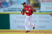 Hickory Crawdads shortstop Luis Marte (3) in action against the Kannapolis Intimidators at L.P. Frans Stadium on May 25, 2013 in Hickory, North Carolina.  The Crawdads defeated the Intimidators 14-3.  (Brian Westerholt/Four Seam Images)
