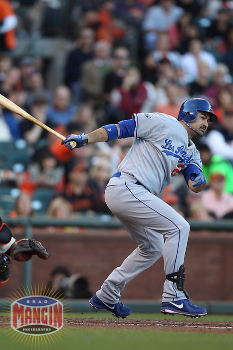SAN FRANCISCO, CA - SEPTEMBER 9:  Adrian Gonzalez #23 of the Los Angeles Dodgers bats against the San Francisco Giants during the game at AT&T Park on Sunday, September 9, 2012 in San Francisco, California. Photo by Brad Mangin