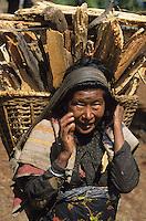 Nepal woman carry firewoods / Nepal Frau traegt Feuerholz