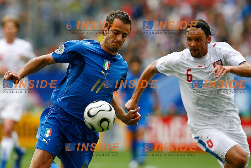 HAmburg 22/6/2006 World Cup 2006.Repubblica Ceca Italia 0-2 0-2.Photo Andrea Staccioli Insidefoto.Alberto Gilardino Italy Marek Jankulovski Czech Republic