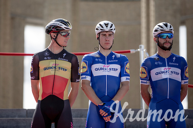 Quick Step floors Team with Yves Lampaert (BEL), Fabio Jakobsen (NED) and Fernando Gaviria (COL). <br /> <br /> <br /> 1st Great War Remembrance Race 2018 (UCI Europe Tour Cat. 1.1) <br /> Nieuwpoort > Ieper (BE) 192.7 km