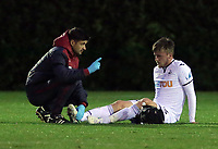 Pictured: Ryan Blair of Swansea (R) injured on the ground. Friday 11 August 2017<br /> Re: Premier League 2, Division 1, Swansea City U23 v Liverpool U23 at the Landore Training Ground, Swansea, UK