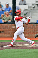 Johnson City Cardinals designated hitter Starlin Balbuena (4) swings at a pitch during a game against the Bristol Pirates at TVA Credit Union Ballpark on June 23, 2017 in Johnson City, Tennessee. The Pirates defeated the Cardinals 4-3. (Tony Farlow/Four Seam Images)