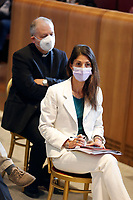 The mayor of Rome and one of the candidates mayor of Rome at the next elections Virginia Raggi, during a conference in the Giulio Cesare hall of the Campidoglio. <br /> Rome (Italy), September 15th 2021<br /> Photo Samantha Zucchi Insidefoto