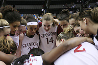 9 March 2008: Stanford Cardinal (not in order) Melanie Murphy, Jayne Appel, Michelle Harrison, JJ Hones, Candice Wiggins, Cissy Pierce, Kayla Pedersen, Hannah Donaghe, Rosalyn Gold-Onwude, Jeanette Pohlen, Ashley Cimino, Morgan Clyburn, and Jillian Harmon during Stanford's 78-45 win against the UCLA Bruins in the 2008 State Farm Pac-10 Women's Basketball tournament at HP Pavilion in San Jose, CA.