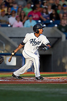 Sergio Alcantara (10) of the Hillsboro Hops at bat during a game against the Tri-City Dust Devils at Ron Tonkin Field in Hillsboro, Oregon on August 24, 2015.  Tri-City defeated Hillsboro 5-1. (Ronnie Allen/Four Seam Images)